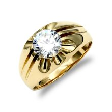 Jewelco London Men's Solid 9ct Yellow Gold White Round Brilliant Cubic Zirconia 10 Claw Solitaire Gypsy Ring