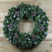 60cm Snow King Fir Green Christmas Wreath with Pine Cones