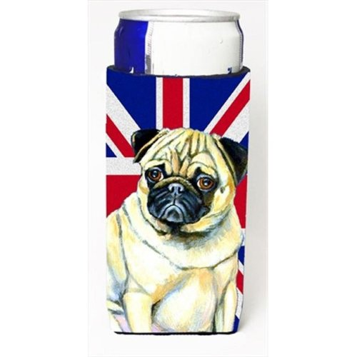 Pug With English Union Jack British Flag Michelob Ultra bottle sleeves For Slim Cans - 12 Oz.