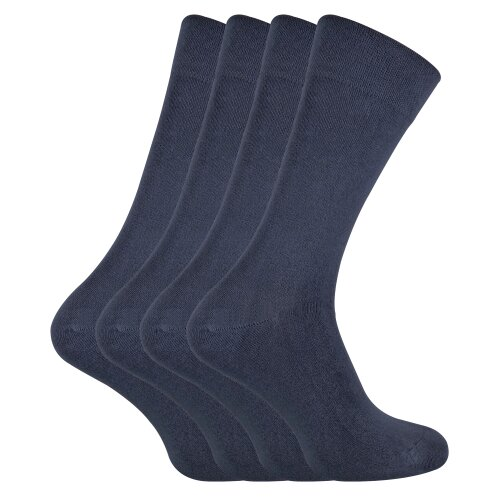 (7-11 UK, Grey) SOCK SNOB - 4 Pairs Bamboo Super Soft Suit Socks for Men & Women
