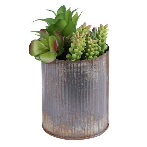 Vickerman F12202 Tin Container Everyday Floral with Succulents