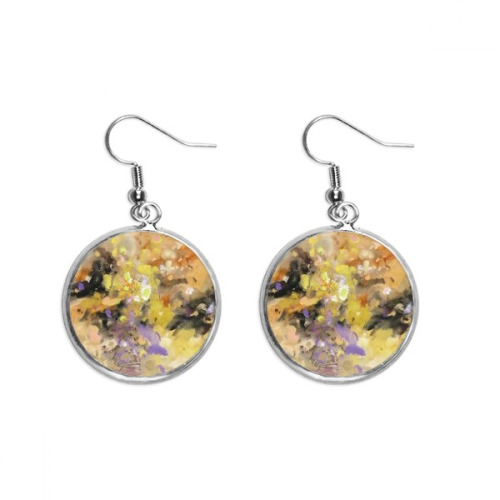 Autumn Fall Oil Painting Art Still Life Flower Ear Dangle Silver Drop Earring Jewelry Woman