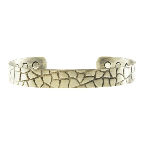 Chunky Copper Magnetic Bracelet, Silver Colour, Crocodile Pattern