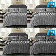 New Chunky Rib Duvet Cover Set UK size Soft Quilts