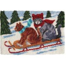 Cats Sledding Rug Latch Hooking Kit (102x69cm)