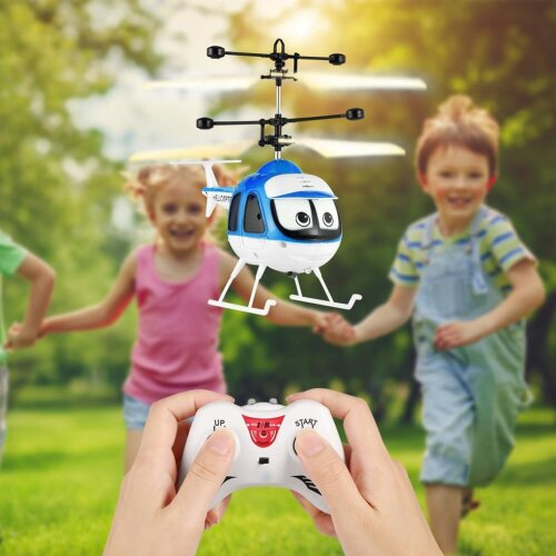 RC Plane Helicopter Cartoon Remote Control Infrared Sensor Aircraft Drone For Kids