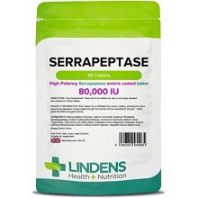 Lindens Serrapeptase 80,000IU Tablets | 90 Pack | High strength and phthalate-free enteric coated tablet to pass through stomach for maximum...