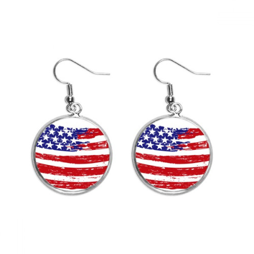 Bend Stars And Stripes America Country Flag Ear Dangle Silver Drop Earring Jewelry Woman