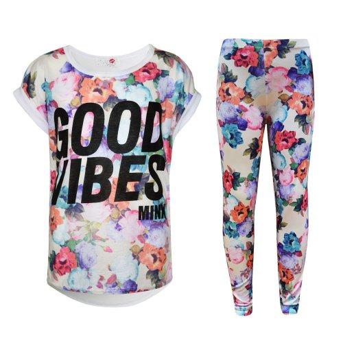 Kids Girls Good Vibes Printed Trendy Top & Fashion Legging Set Age 7-13 Years