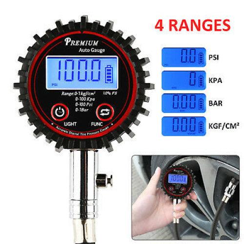 Perfect Digital LCD Tyre Tire Air Pump Pressure Gauge Tester 200PSI Car Van