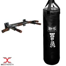 Boxing Punch Bag Set Heavy Filled Chin Pull Up Bracket Gym Fight Training