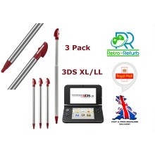 Stylus Pen For Nintendo 3DS XL/LL Metal Extendable Retractable Dark Red 3 Pack