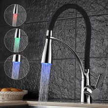 LED Kitchen Taps Pull Out Spray Basin Mixer Sink Tap Chrome Faucet