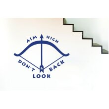 Aim High And Dont Look Back Wall Stickers Art Decals - Large (Height 57cm x Width 72cm) Dark Blue