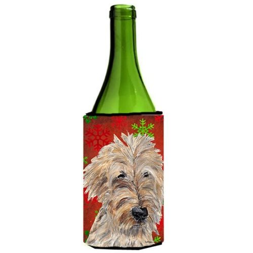 Goldendoodle Red Snowflake Christmas Wine bottle sleeve Hugger - 24 oz.
