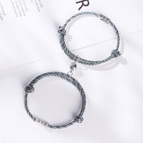 (As Seen on Image) Friendship Rope Braided Distance Couple Magnetic Bracelet 2PCS