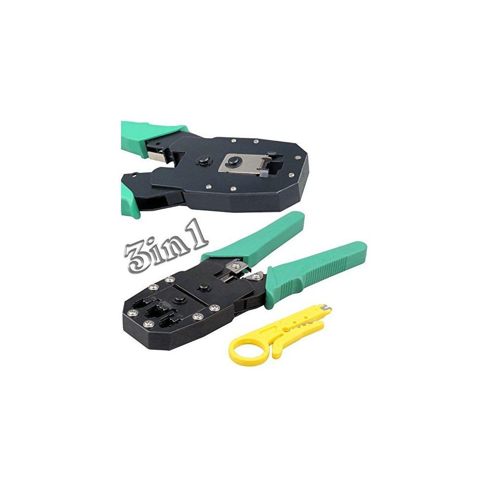 Safekom RJ45 Cat5e Cat6 Cat6e Cat7 RJ11 RJ12 Crimping Crimper Wire Stripper Cutter 10x Crimp Boots LAN Tool Ethernet Network Kit 10 Pcs Connectors End Cable Tester Lead Testing ADSL DSL Connection