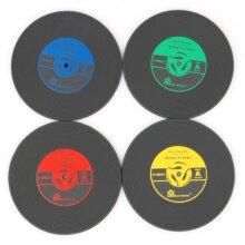 4 Pcs/Set Vinyl Coaster Retro CD Record Cup Drink Holder Mat Tableware Placemat