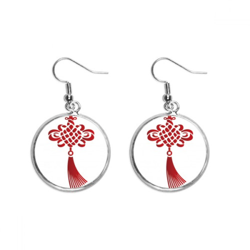 China Knot Red Safety Pattern Ear Dangle Silver Drop Earring Jewelry Woman