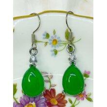 Silver Earrings Pear Shape Green Chalcedony Zircon Gemstone Retro