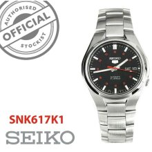 Seiko 5 Automatic Black Dial Silver Stainless Steel Mens Watch SNK617K1