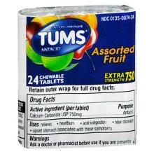 Tums Extra Strength 750mg Assorted Fruit Calcium Carbonate 24ct