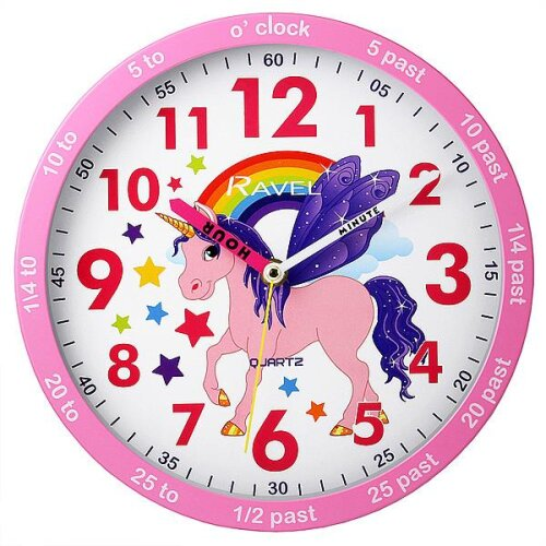 Ravel Time Teacher Unicorn Design Wall Clock For Kids Bedroom