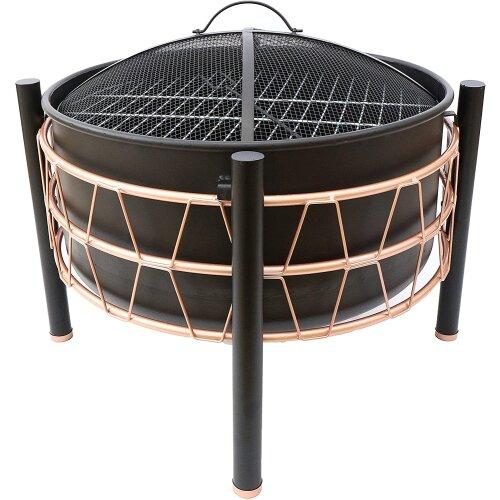 Schallen Garden Outdoor Black & Copper Large Bowl Fire Pit & BBQ