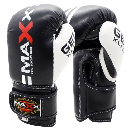 (Black White, 6oz) Maxx 2lines Kids Junior Boxing Gloves Sparring Glove Competition Training and Fighting glove pad MMA UFC gym in door