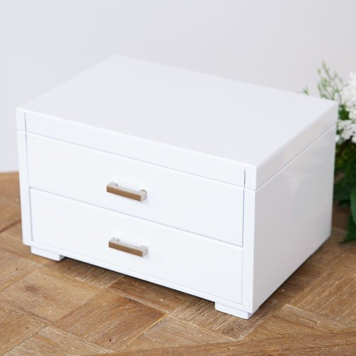 Sophia Collection White Jewellery Box with Drawer - Modern Style