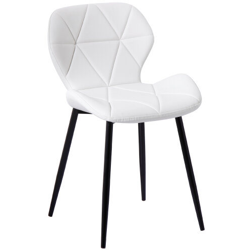 (PU White) Set of 2 Diamond Patterned Dining Chair