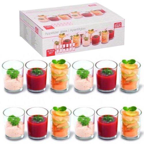 GEEZY 12 Pieces Appetizer Glass Set Mini Dish Shot Cups Verrines Dessert Party Glasses
