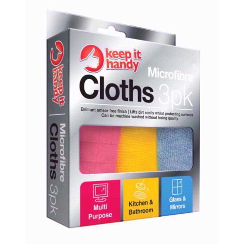 Value Pack of 3 Microfibre Cleaning Cloths