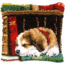 "Latch Hook Complete Cushion Cover Kit ""Dog on a Bookshelf""43x43cm"