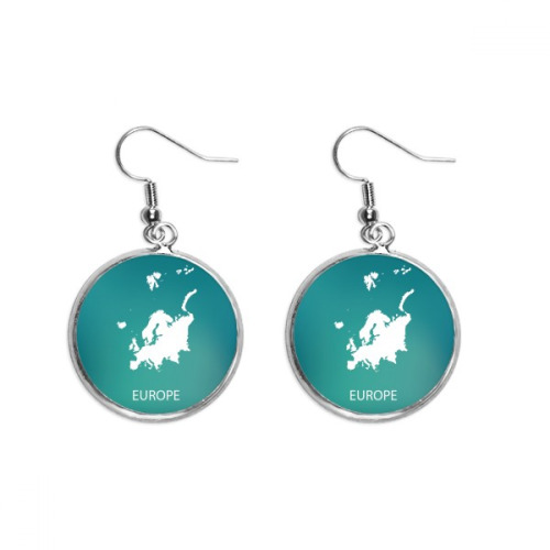 Europe Continent Outline Silhouette Map Ear Dangle Silver Drop Earring Jewelry Woman