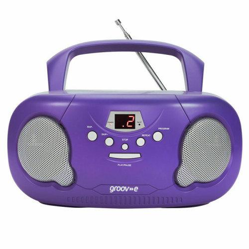 Groov-e Original Boombox Portable CD Player?AM/FM Radio?3.5mm Aux?PS733PE?Purple