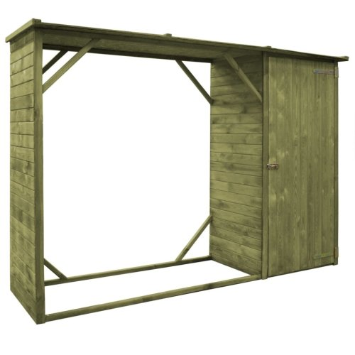 vidaXL Garden Firewood Tool Storage Shed Pinewood 253x80x170cm Patio Cabin