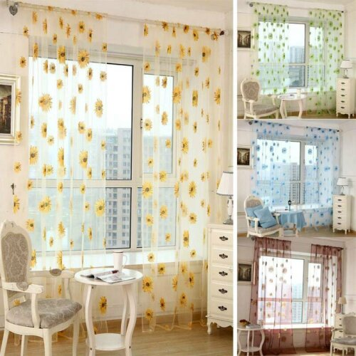 Sunflower Net Voile Window Curtain Sheer Bedroom Tulle Drape Panels Home Decor