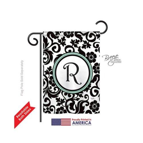 Breeze Decor 80070 Damask R Monogram 2-Sided Impression Garden Flag - 13 x 18.5 in.