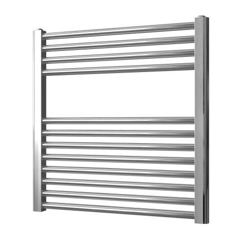 Greened House 600mm wide x 600mm high Chrome Flat Central Heating Towel Rail Designer Straight Towel radiator