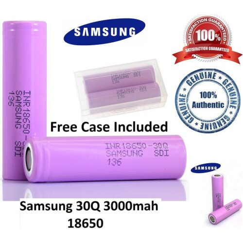 (2 Battery with Free Case) Samsung 30Q 3000mAh Vape RECHARGEABLE BATTERY