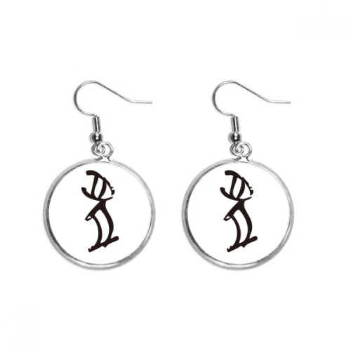 Bones Inscriptions Chinese Zodiac Rabbits Ear Dangle Silver Drop Earring Jewelry Woman