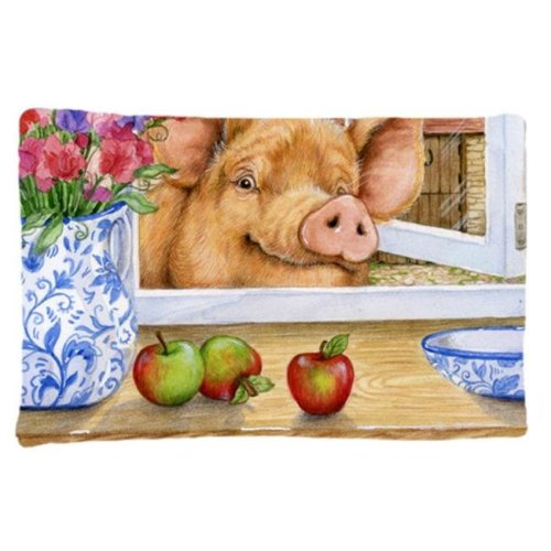 Pig Trying to Reach the Apple in the Window Fabric Standard Pillowcase