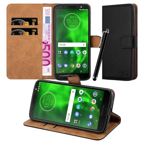For Moto G6 Play Premium Leather Wallet Case Cover