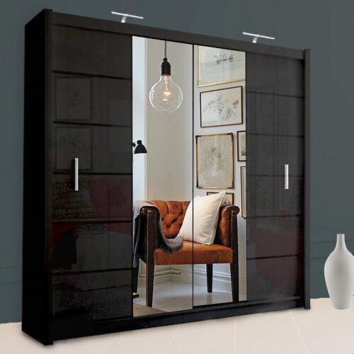 Dubna Bedroom Wardrobe With Mirror | Sliding Wardrobe With Lights