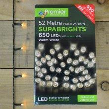 Premier Deluxe Light Set - 52m Multi Action 650 Warm White LED SUPABRIGHTS