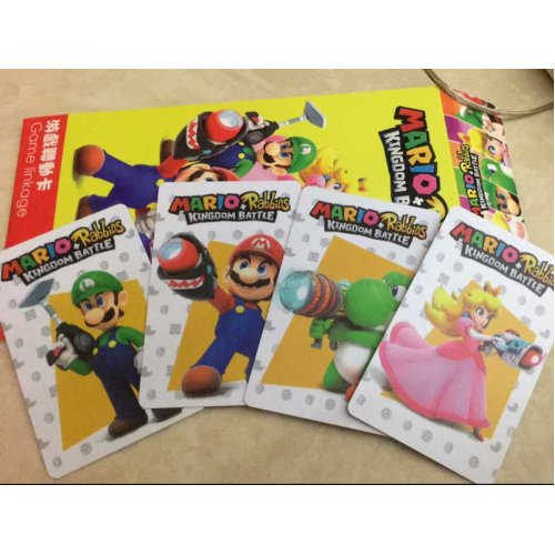 (4pcs MARIO RabbiDS KINGDOM BATTLE) Zelda/Animal Crossing/Splatoon 2/Mario Kart Series Amiibo NFC TAG Cards