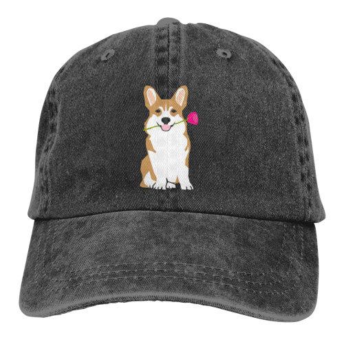 Corgi And Rose Denim Baseball Caps