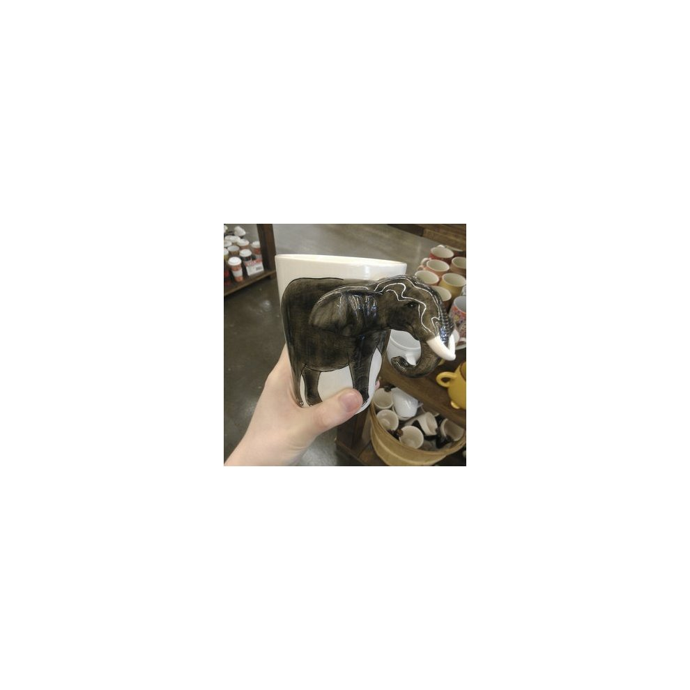 Elephant Mug with 3D Ears and Trunk Coffee Cup Lucky Elephant