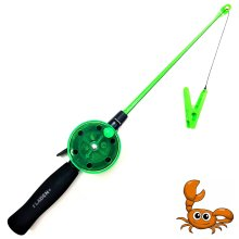 FLADEN Fishing - Crab Crayfish Bait Peg Rod Reel and Line Set (GREEN) - No Hooks - Perfect for Kids For Coastal Shore Rock Pool Crabbing...